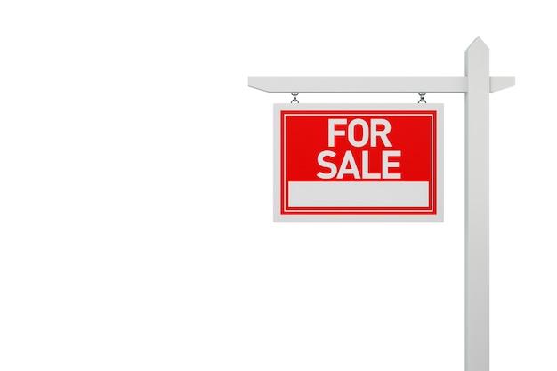 Zu verkaufen immobilien-zeichen auf weißem hintergrund. 3d-darstellung