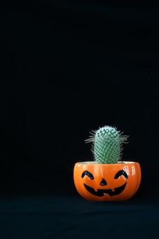Zubehör von dekorationen glückliches halloween-tageshintergrundkonzept mit kaktuspflanze