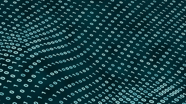 Zufällige digitale binärdaten, die sich im wellenhintergrund bewegen, abstrakte futuristische computerprogrammierungscodetechnologie-cyberspace-konzeptillustration