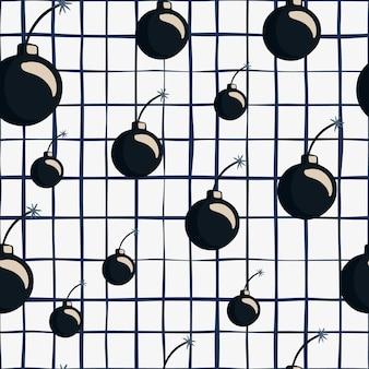 Zufällige schwarze bomben silhouetten nahtlose doodle-muster. weißer hintergrund mit blauem check.