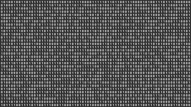 Zufälliger digitaler binärer datenbildschirmhintergrund, abstrakte futuristische computerprogrammierungscodetechnologieillustration