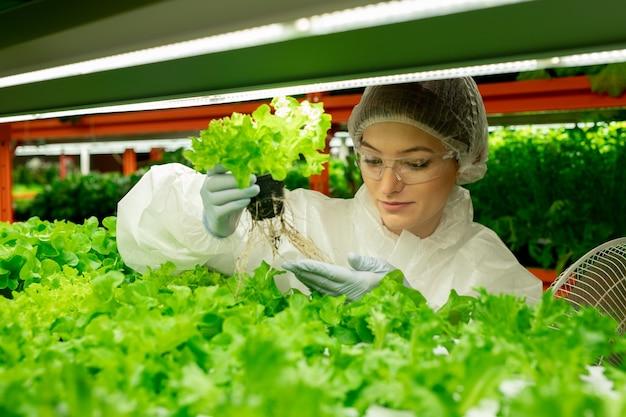 Zufriedener junger gewächshausarbeiter in mütze und handschuhen, der auf vertikalen farmen und topfpflanzen steht