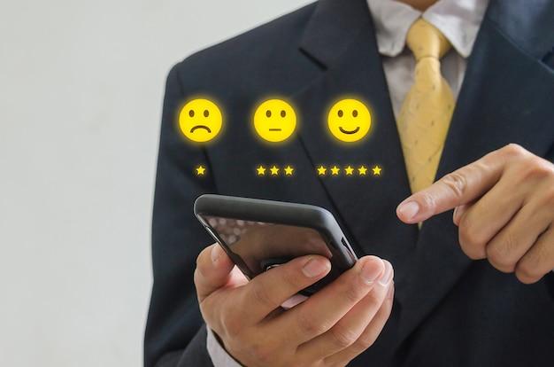 Zufriedenheit mit dem kundenkonzept des geschäftskonzepts umfrage und feedback
