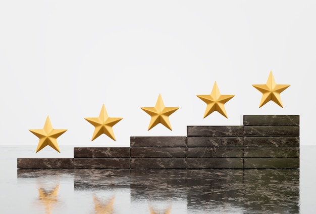 Zufriedenheit und kundenservice mit fünf-sterne-form-bewertungs-erlebniskonzept
