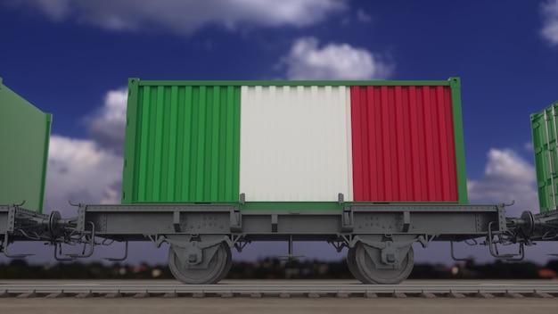 Zug und container mit der flagge italiens. eisenbahntransport. 3d-rendering.
