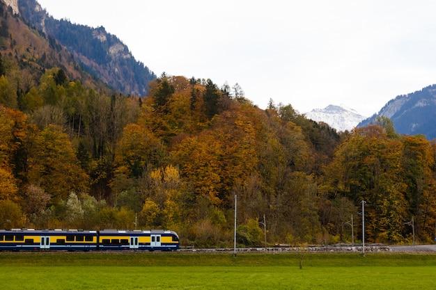 Zug und schneebedeckter berg auf wiese an der jungfrau region in der schweiz