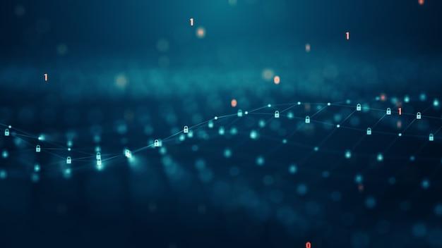Zugangskontrolle und cybersicherheitskonzept. sichere datennetzwerktechnologievorhängeschlösser und schlösser auf dem virtuellen digitalen bildschirm. daten- und informationsschutzprotokoll. sichere verbindung.