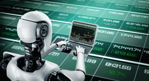 Zukünftige finanzinvestitionstechnologie, die von einem ki-roboter mithilfe von maschinellem lernen gesteuert wird