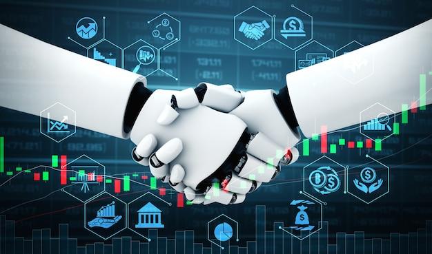 Zukünftige finanztechnologie, die vom ki-roboter gesteuert wird