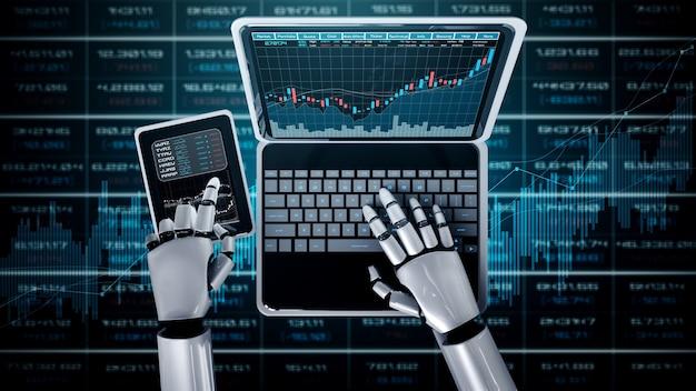 Zukünftige finanztechnologie, die von einem ki-roboter mithilfe von maschinellem lernen gesteuert wird