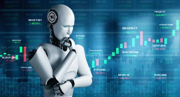 Zukünftige finanztechnologie, die von einem ki-roboter mithilfe von maschinellem lernen und künstlicher intelligenz gesteuert wird, um geschäftsdaten zu analysieren und ratschläge zu investitions- und handelsentscheidungen zu geben. 3d-illustration.