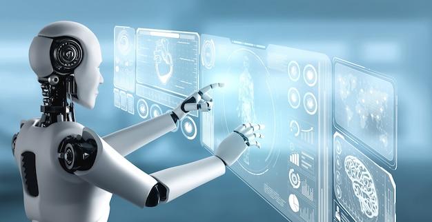 Zukünftige medizintechnik, die vom ki-roboter mithilfe von maschinellem lernen gesteuert wird