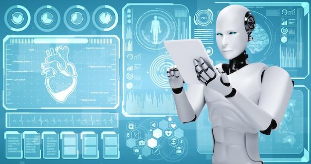 Zukünftige medizintechnik, die von einem ki-roboter mithilfe von maschinellem lernen gesteuert wird