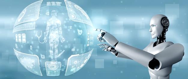 Zukünftige medizintechnik, die von einem ki-roboter mithilfe von maschinellem lernen und künstlicher intelligenz gesteuert wird, um die gesundheit der menschen zu analysieren und ratschläge zur entscheidung über die behandlung im gesundheitswesen zu geben. 3d-illustration.