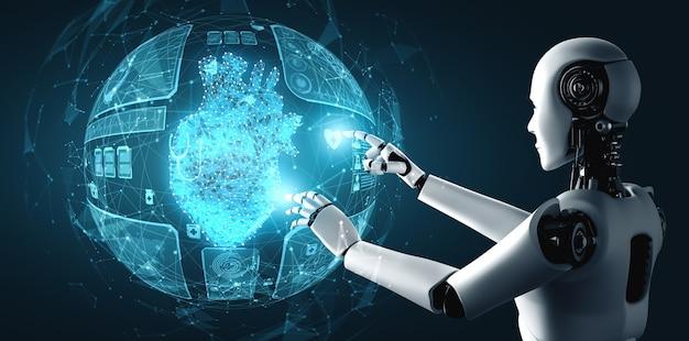 Zukünftige medizintechnik, die von einem ki-roboter mithilfe von maschinellem lernen und künstlicher intelligenz gesteuert wird