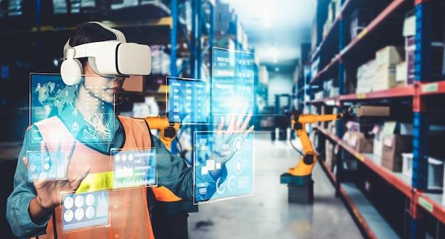Zukünftige virtual-reality-technologie für innovatives vr-lagermanagement