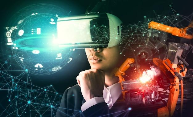 Zukünftige vr-technologie für die mechanisierte roboterarmsteuerung in der industrie