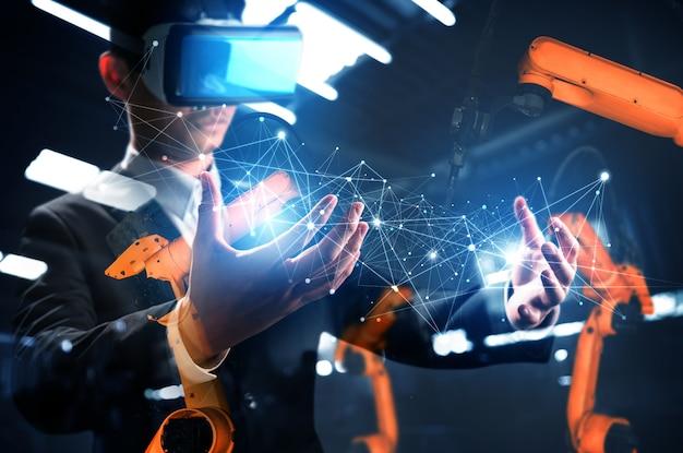 Zukünftige vr-technologie für die roboterarmsteuerung in der mechanisierten industrie