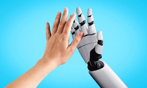 Zukünftiger roboter und cyborg für künstliche intelligenz
