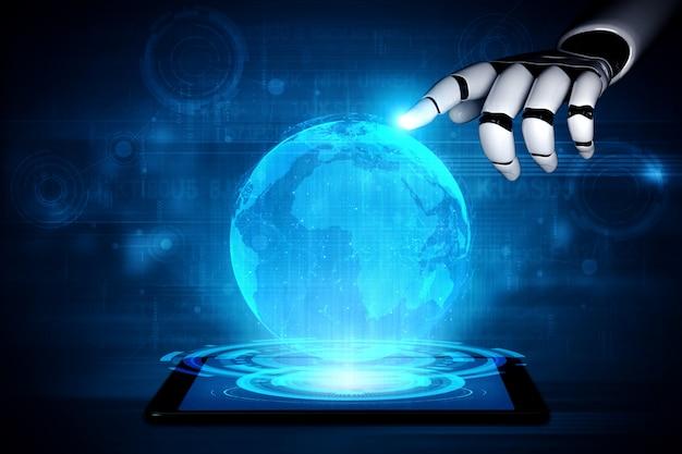 Zukünftiger roboter und cyborg für künstliche intelligenz.