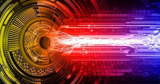 Zukunftstechnologie-konzepthintergrund des gelben roten blauen cyberstromkreises