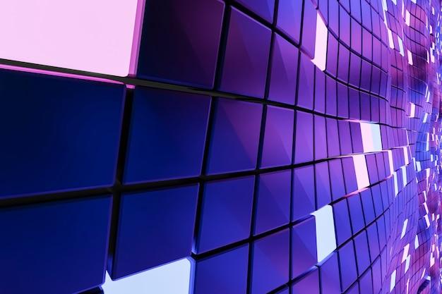 Zukunftstechnologien. fantastischer abstrakter hintergrund von würfeln und lichtpaneelen. rechner. 3d-darstellung.