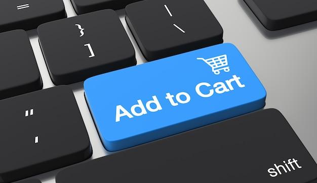 Zum einkaufswagen hinzufügen tastatur-taste. online-shopping-konzept