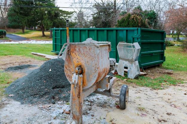 Zum mischen von betonmischern im freien