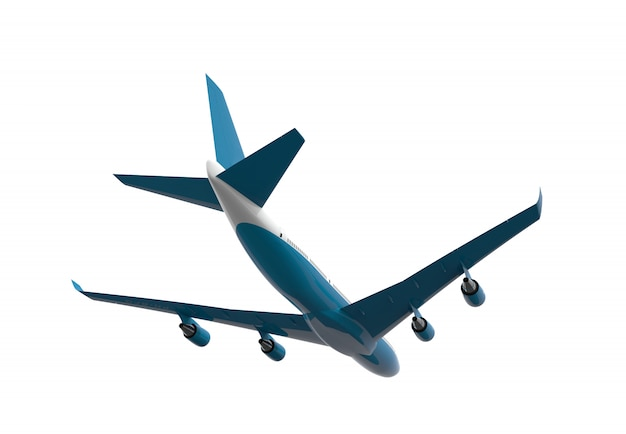 Zurück von einem blauen und weißen flugzeug getrennt getrennt auf weiß