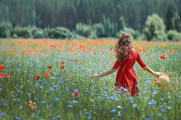 Zurück von einer brunettefrau, die entlang ein mohnblumenfeld bei sonnenuntergang geht