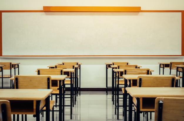 Zurück zum schulkonzept. schulleeres klassenzimmer, hörsaal mit schreibtischen und stühlen bügeln holz für das studieren