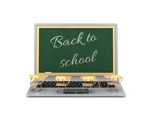 Zurück zur schule auf weißem hintergrund. isolierte 3d-darstellung Premium Fotos