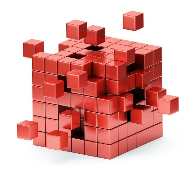 Zusammenbau der würfelstruktur 3d