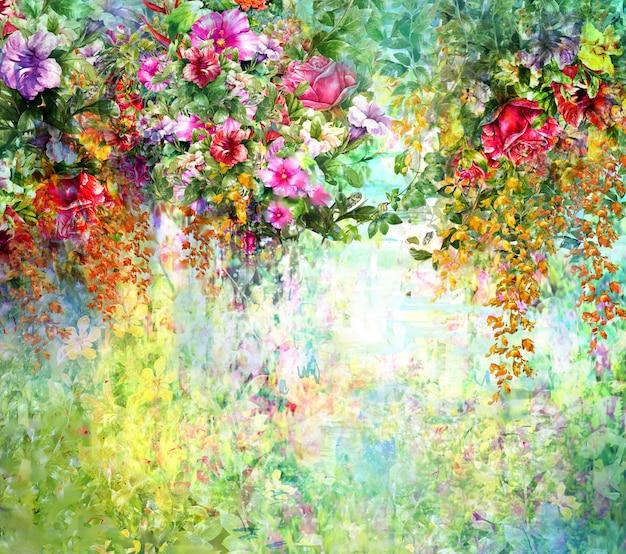 Zusammenfassung blüht aquarellmalerei. mehrfarbige frühlingsblumen