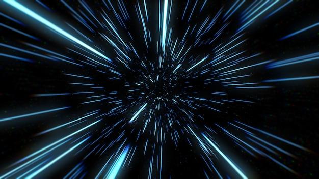 Zusammenfassung der warp- oder hyperraumbewegung in der blauen sternspur. explodierende und expandierende bewegungs-3d-illustration