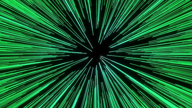 Zusammenfassung der warp- oder hyperraumbewegung in der grünen sternspur. explodierende und expandierende bewegung
