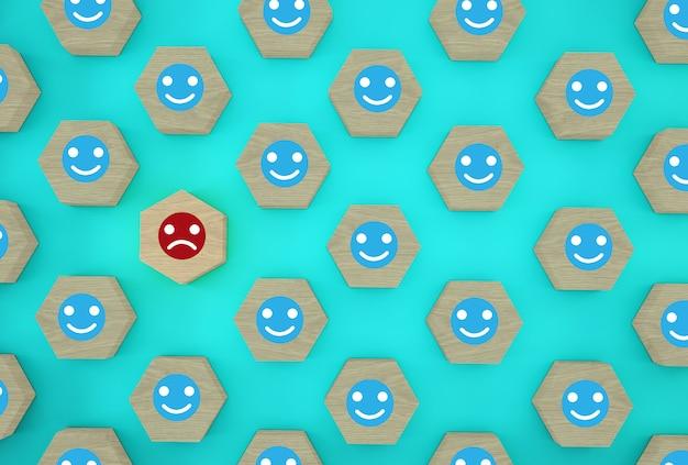 Zusammenfassung des gesichtsgefühls glück und traurigkeit, einzigartig, denkt anders, individuell und hebt sich von der masse ab. hölzernes hexagon mit ikone auf blauem hintergrund.
