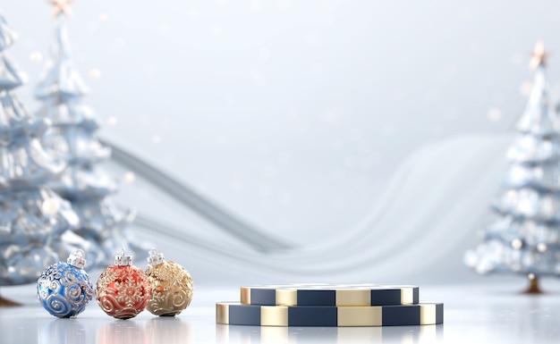 Zusammenfassung frohe weihnachten produktanzeigepodest mit kiefer und dekorationskugeln, 3d rendern Premium Fotos
