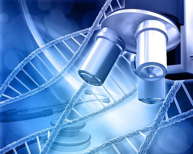 Zusammenfassung medizinischen hintergrund mit dna-stränge mikroskop und stethoskop