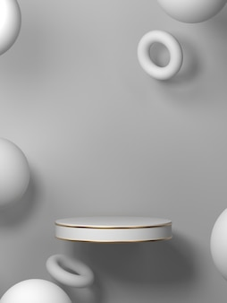 Zusammenfassung mit geometrischem formpodium für produkt. minimales konzept. 3d-rendering