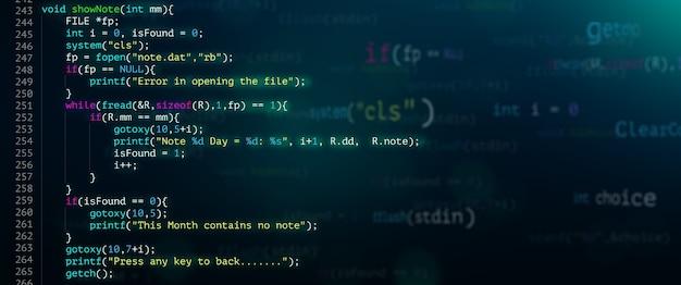 Zusammenfassung moderne technologie des programmiercode-bildschirmentwicklers. c programmiersprache für computerskripte und technologiehintergrund von software.