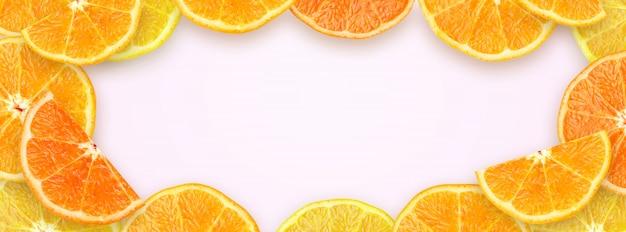 Zusammengedrückte scheiben-orange mit kopien-raum-hintergrund für website-abdeckungs-fahne