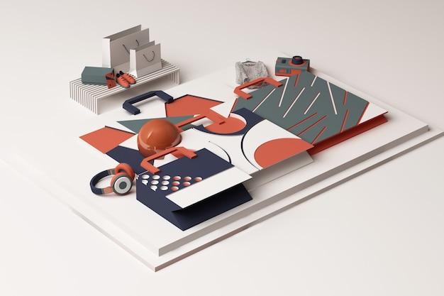 Zusammensetzung der einkaufstasche durch geometrische formen im memphis-stil in orange und blau. 3d-rendering-illustration
