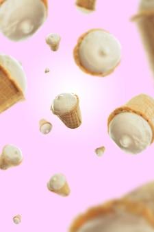 Zusammensetzung der eiscreme auf einem rosa hintergrund