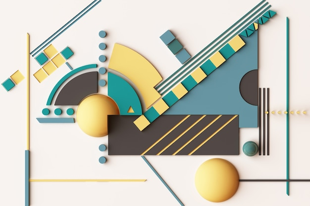 Zusammensetzung der geometrischen formen in gelb- und grünton. 3d-rendering-illustration