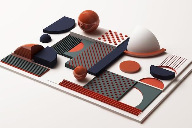 Zusammensetzung der geometrischen formen in orange und dunkelblau. 3d-rendering-illustration