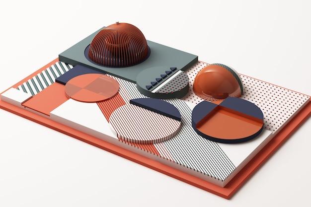 Zusammensetzung der geometrischen formen in pastellorange und blauton. 3d-rendering-illustration