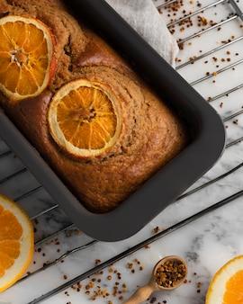 Zusammensetzung des gesunden rezepts mit orangen Kostenlose Fotos