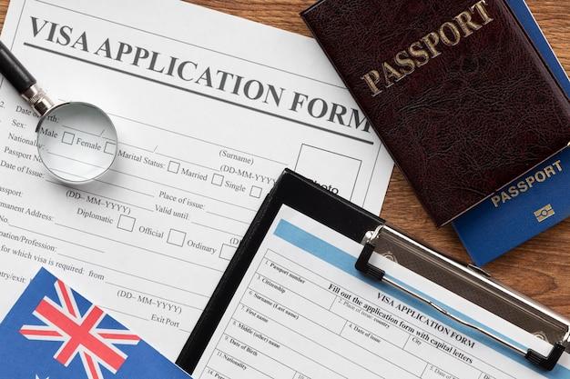 Zusammensetzung des visumantrags mit australischer flagge