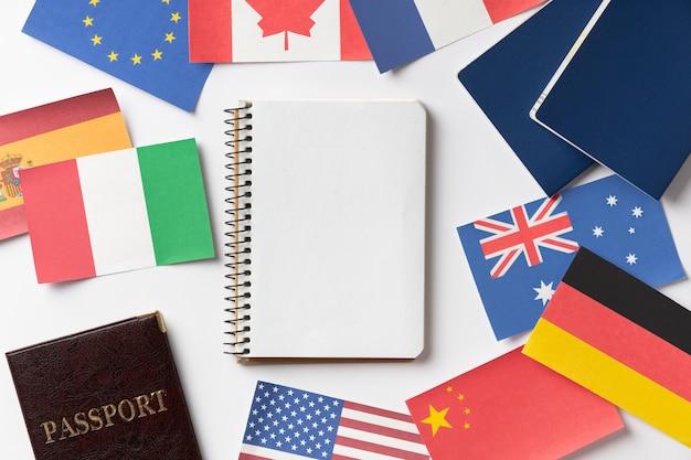 Zusammensetzung des visumantrags mit verschiedenen flaggen